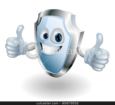 Cartoon happy shield man stock vector clipart, A cartoon happy shield man could be for any internet or real world security related use by Christos Georghiou