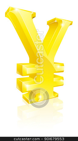 Yen currency sign stock vector clipart, Illustration of a big shiny gold Yen currency sign by Christos Georghiou