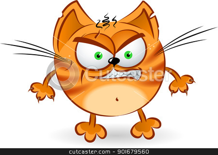 The angry orange cartoon cat stock photo, The angry orange cartoon cat. Illustration on white background    by dvarg