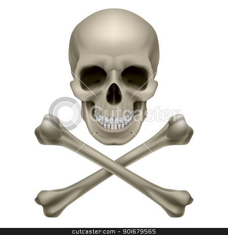 Skull and crossbones stock photo, Skull and crossbones. Illustration on white background by dvarg