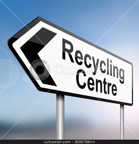 Recycle concept. stock photo, illustration depicting a sign post with directional arrow containing a recycle concept. Blurred background. by Samantha Craddock
