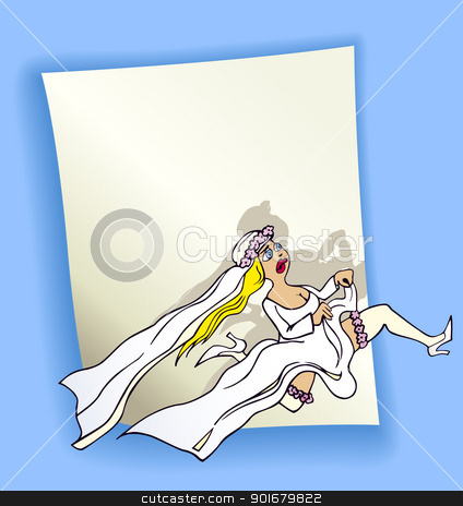 cartoon design with running bride stock vector clipart, cartoon design illustration with blank page and running bride by Igor Zakowski