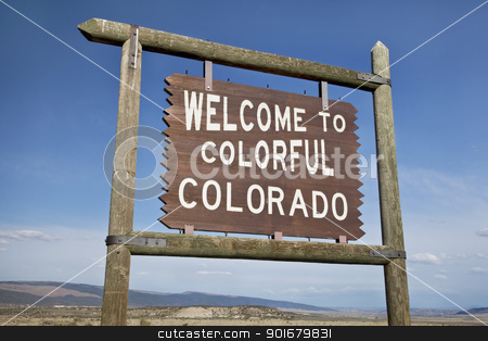 welcome to Colorado roadside sign stock photo, welcome to Colorado roadside wooden sign at a border with Utah in northwestern Colorado by Marek Uliasz