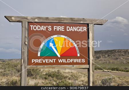 fire danger roadside sign in Colorado stock photo, fire danger roadside warning sign in northwestern Colorado showing moderate by Marek Uliasz