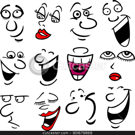 Emotions illustration stock vector clipart cartoon faces and emotions
