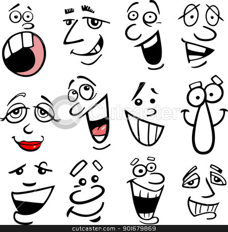Cartoon emotions illustration stock vector clipart, Cartoon faces and emotions for humor or comics design by Igor Zakowski