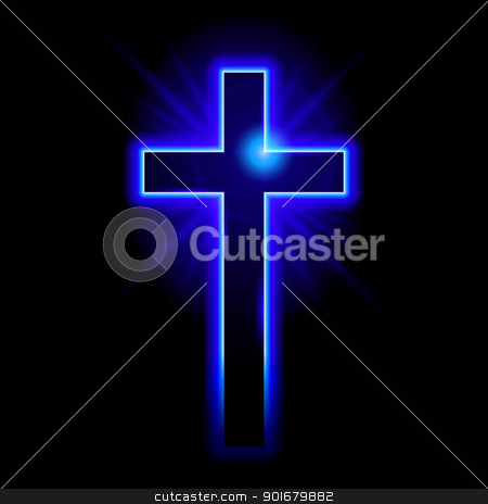 Christian symbol of the crucifix stock photo, Blue Christian symbol of the crucifix. Illustration on black background  by dvarg
