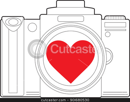 Camera Heart stock vector clipart, A black outline image of a photo camera, has a red heart in the centre of the camera lens. by Maria Bell