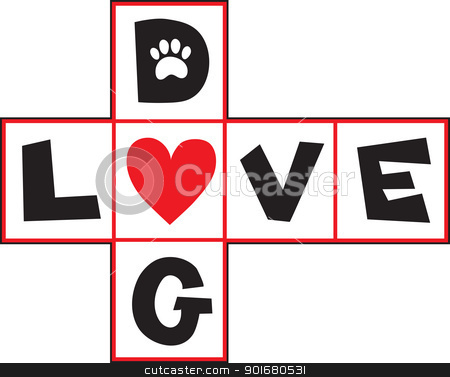 Dog Love stock vector clipart, A design based on a hop-scotch layout, the squares having black letters spelling out