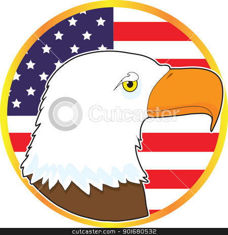 Eagle Medallion stock vector clipart, Resembling a gilded medallion, the image symbolizes American patriotism, with the head of an eagle and the American flag. by Maria Bell