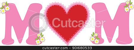 Mom Love stock vector clipart, A simple decorative design, with a red heart placed between two pink M letters, conveying the message of love for Mothers. by Maria Bell