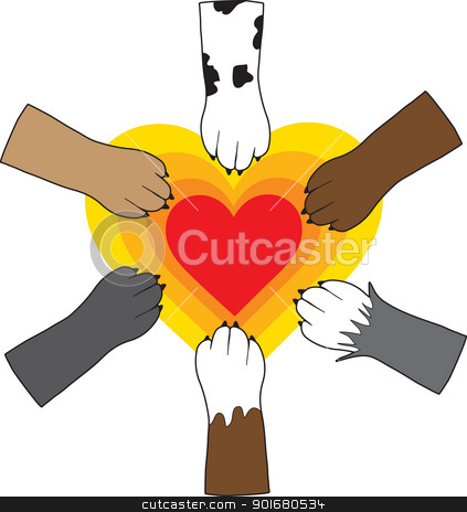 Paws and Heart stock vector clipart, A central, radiating heart image, has dog paws placed upon it as a symbol of canine love and unity. by Maria Bell