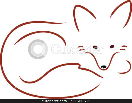 Vulpes Vulpes stock vector clipart, An outline image of a cute red fox curled up and resting. by Maria Bell