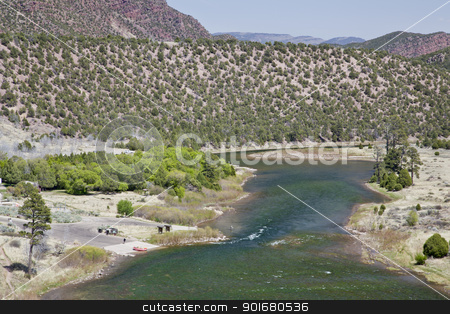 Green River at Little Hole, Utah stock photo, Green River at Little Hole, Utah, below Flaming Gorge Dam, boat ramp with a raft and fisherman, spring with fresh green colors by Marek Uliasz