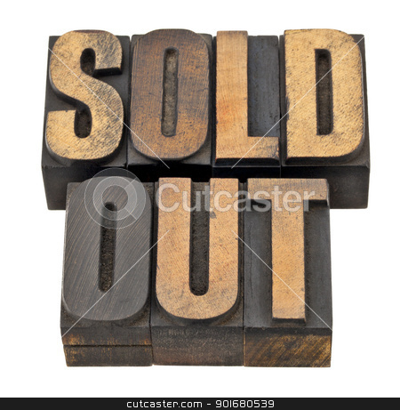 sold out in letterpress type stock photo, sold out  - business concept - isolated text in vintage letterpress wood type by Marek Uliasz