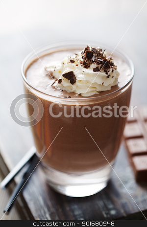 chocolate mousse or milkshake stock photo, closeup of an inviting chocolate drink or dessert by Liv Friis-Larsen