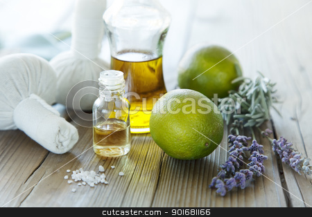 natural wellness products stock photo, collection of oils and ingredients for spa and massage by Liv Friis-Larsen
