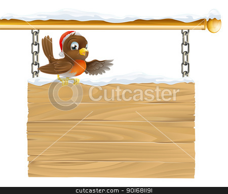 Christmas Santa hat bird on sign stock vector clipart, Illustration of a bird with Christmas Santa hat sitting on wooden sign with snow by Christos Georghiou