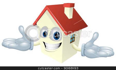 House character stock vector clipart, Illustration of a cute happy house character smiling  by Christos Georghiou