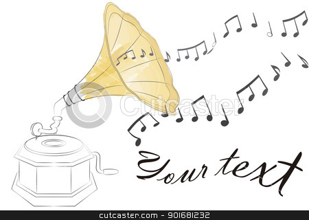 gramophone stock vector clipart, outline of an antique gramophone, painted with watercolor effect. Music notes floating on the air and empty space to write your own text by Lutya