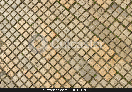 Dirty old square shapes paving slabs close up. stock photo, Dirty old square shapes paving slabs close up. by Stephen Rees