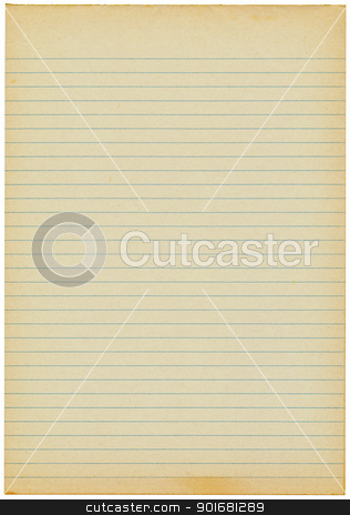 Old yellowing lined blank A4 paper isolated. stock photo, Old yellowing lined blank A4 paper isolated. by Stephen Rees