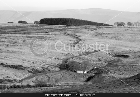 Narrow twisting road over the Mynydd Epynt hills in Wales UK. stock photo, Narrow twisting road over the Mynydd Epynt hills in Wales UK. by Stephen Rees