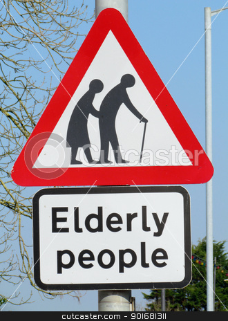 British elderly people crossing road warning sign. stock photo, British elderly people crossing road warning sign. by Stephen Rees