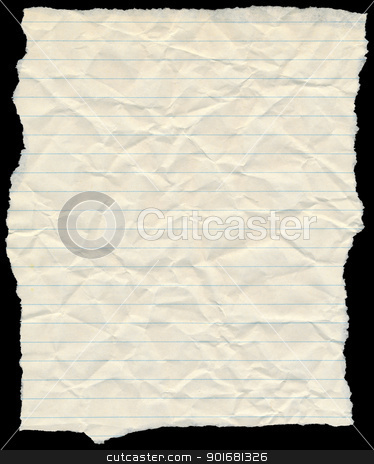 Old yellowing crumpled lined paper torn edges isolated on black. stock photo, Old yellowing crumpled lined paper torn edges isolated on black. by Stephen Rees