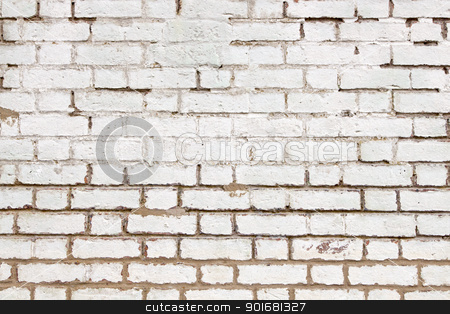Old weathered brick wall white paint close up. stock photo, Old weathered brick wall white paint close up. by Stephen Rees