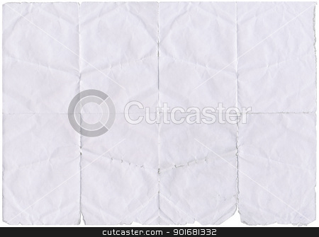 Isolated old white folded paper with torn edges. stock photo, Isolated old white folded paper with torn edges. by Stephen Rees