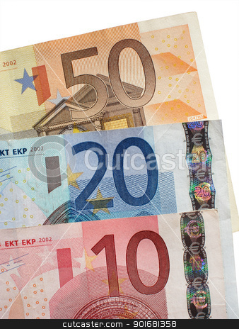 Fifty twenty and ten Euro notes close up. stock photo, Fifty twenty and ten Euro notes close up. by Stephen Rees