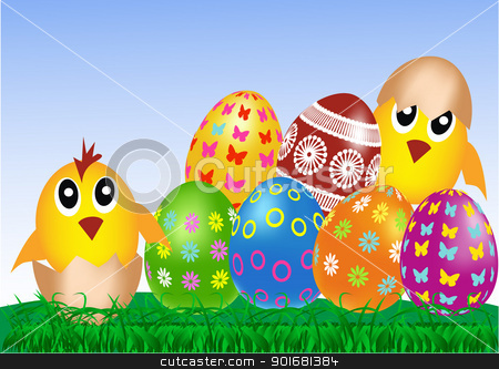 Easter eggs and chickens stock vector clipart, Easter eggs and chickens on green grass and blue sky  by monicaodo