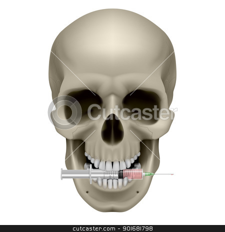 Human skull and syringe stock photo, Human skull and syringe. Illustration on white background by dvarg