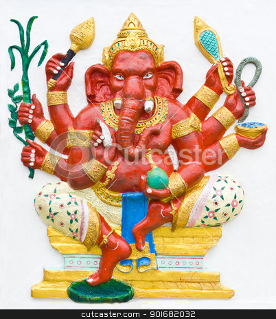 Hindu ganesha God stock photo, Hindu ganesha God Named Maha Ganapati at temple in thailand by stoonn