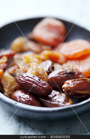 dried fruits stock photo,  closeup of dried abricot, dades and raisins by Liv Friis-Larsen