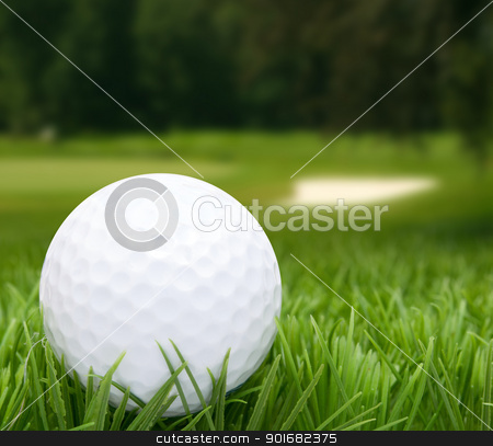 Golf Ball stock photo, Golf Ball in Grass -  Golf Course in Background by JAMDesign
