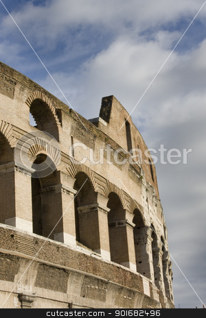 Side of Stone Coliseum stock photo, Side of ancient stone coliseum  by Brandon Smith