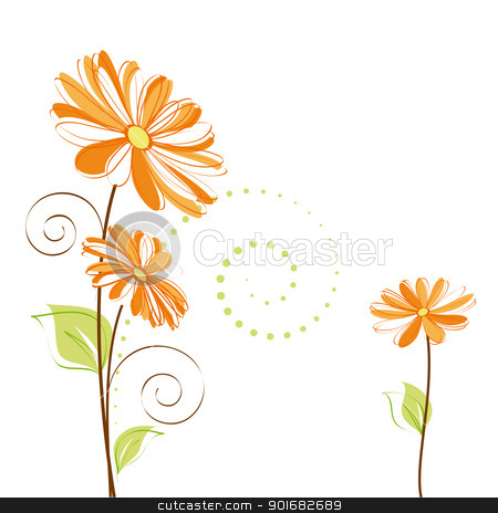 Springtime colorful Daisy flower on white background stock vector clipart, Abstract springtime colorful Daisy flower on white background by meikis