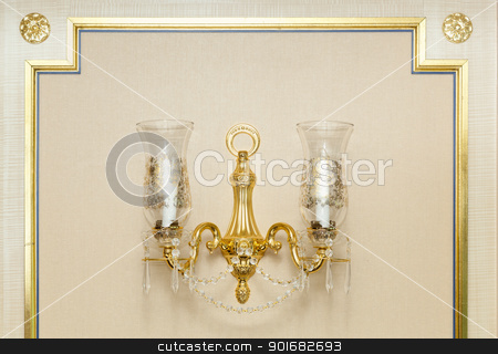 Wall Gold Chandelier Abstract stock photo, Luxurious Ornate Gold Wall Chandelier Abstract. by Andy Dean