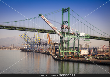 San Pedro Ship Yard and Bridge stock photo, Busy San Pedro Ship Yard and Bridge. by Andy Dean