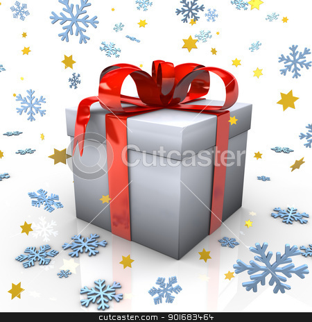 Christmas Gift stock photo, Gift with red ribbons, snowflakes and golden stars on the white background. by Alexander Limbach