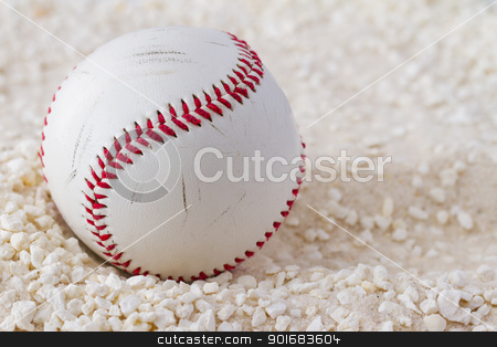Baseball stock photo, A baseball over a white sand background by Fabio Alcini