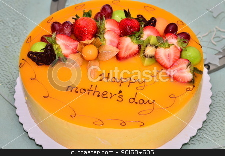 Mother's day cake stock photo, Mother's day cake on the table by Kevinhsieh