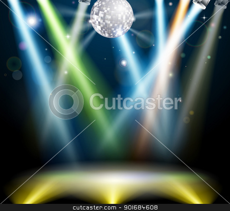 Disco ball dance floor stock vector clipart, Illustration of a spotlit disco dance floor with mirror ball or disco ball by Christos Georghiou