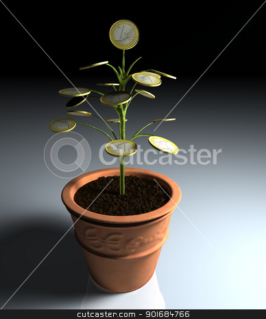 One euro money little tree in a vase in the shade stock photo, A little tree with one euro coin instead of leaves, planted in a vase, is illuminated by a dim light coming from the right side by Francesco De Paoli