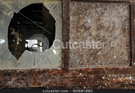 rusty factory door and smashed glass stock photo, Rusty factory door and smashed glass. Industrial grunge background texture. by sirylok