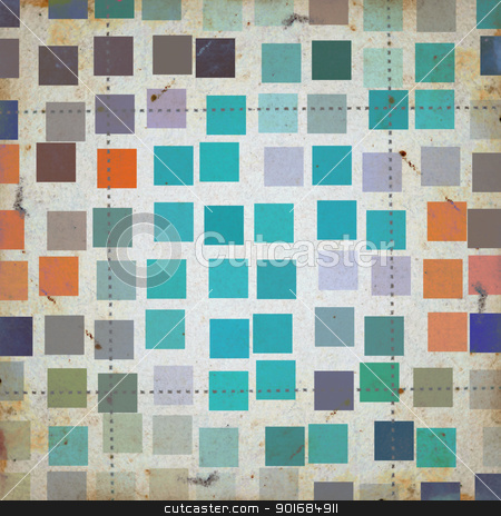grunge squares abstract pattern stock photo, Grunge squares colorful abstract pattern on textured paper. Background illustration. by sirylok