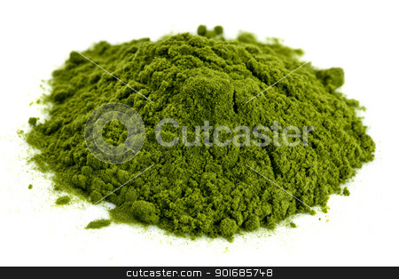 freeze-dried organic wheat grass powder stock photo, a small pile of green freeze-dried organic wheat grass powder, nutritional supplement by Marek Uliasz