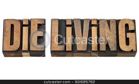 die living advice in wood type stock photo, die living advice - isolated text in vintage letterpress wood type by Marek Uliasz